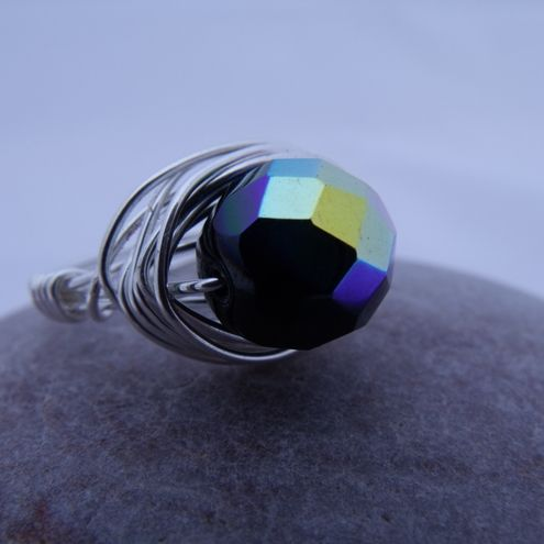 Black iridescent beaded wire wrapped ring