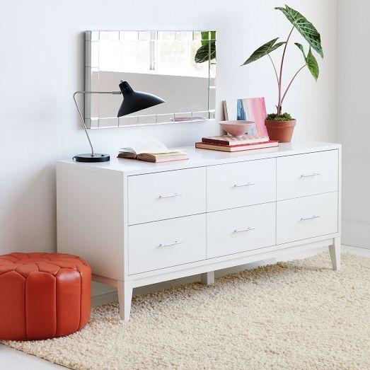 Best Narrow Leg 6 Drawer Dresser White West Elm White 640 x 480