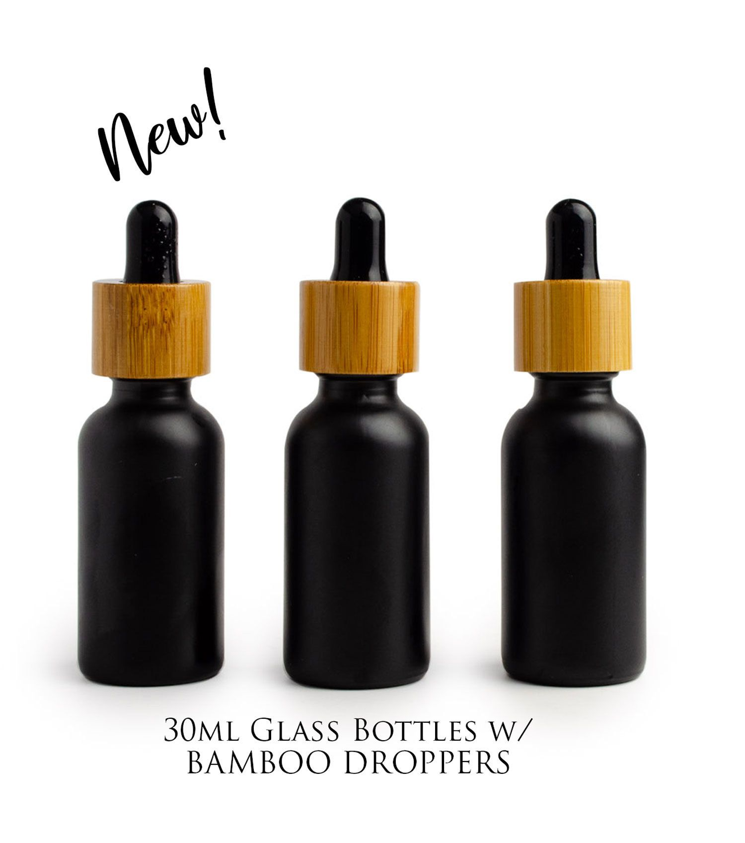 Single Black Matte 30ml Essential Oil Glass Bamboo Dropper Bottles 1 Oz Boston Round Shape White Or Black Bulbs Bottle Glass Dropper Bottles Tincture Bottles