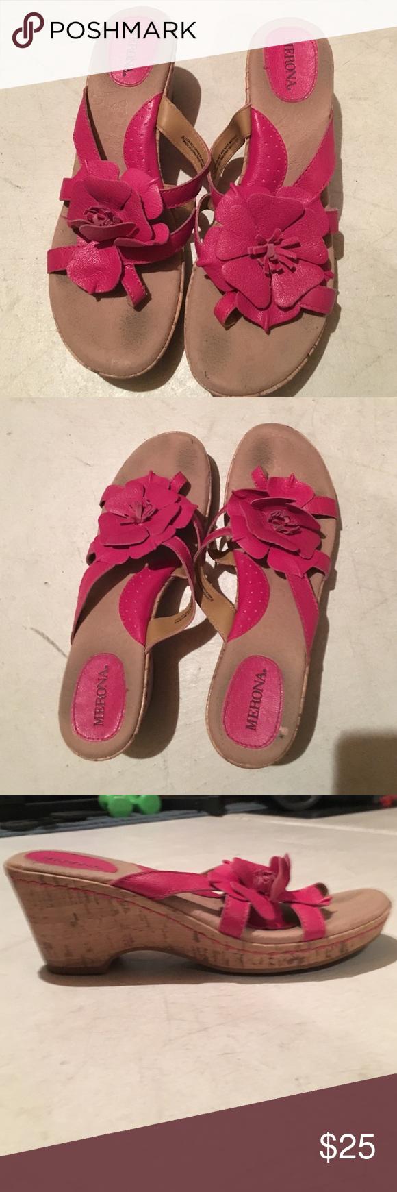 Merona wedges Pink Merona Wedges, slightly worn Merona Shoes Wedges