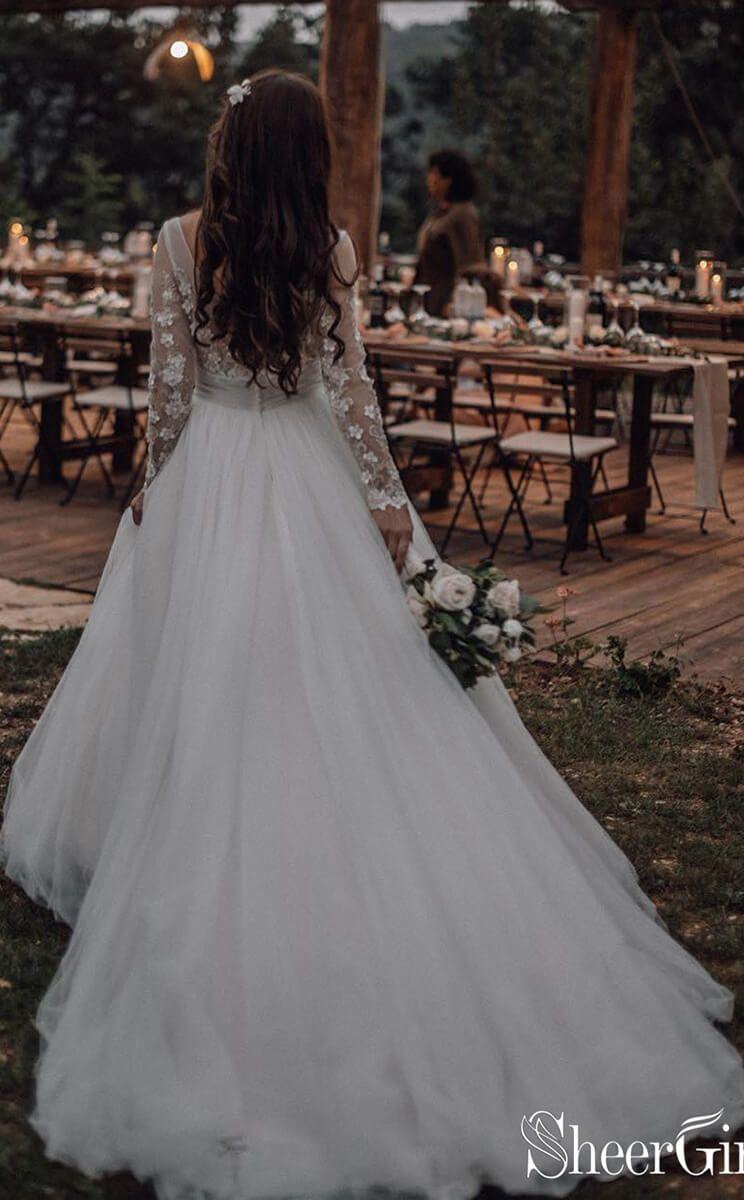 See Through Long Sleeve Boho Wedding Dresses Lace Applique Bridal Dress Awd1327 Long Sleeve Wedding Dress Lace Long Sleeve Wedding Dress Boho Lace Wedding Dress With Sleeves