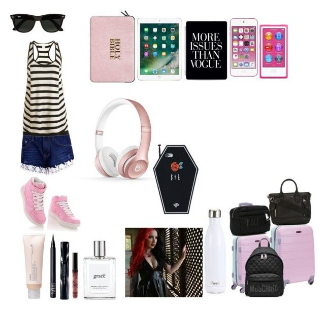 """""""Boarding school interview with ash"""" by lilyintin ❤ liked on Polyvore featuring Boohoo, Diane Von Furstenberg, Timeless, Rockland Luggage, Casetify, Moschino, Apple, Ray-Ban, Marc Jacobs and philosophy"""