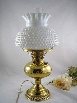 Vintage Duplex Brass Oil Lamp Converted To Electricity Elegant Shape Antiques Lamps
