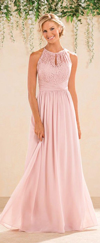 Fantastic Lace & Chiffon Halter Neckline A-Line Bridesmaid Dresses ...