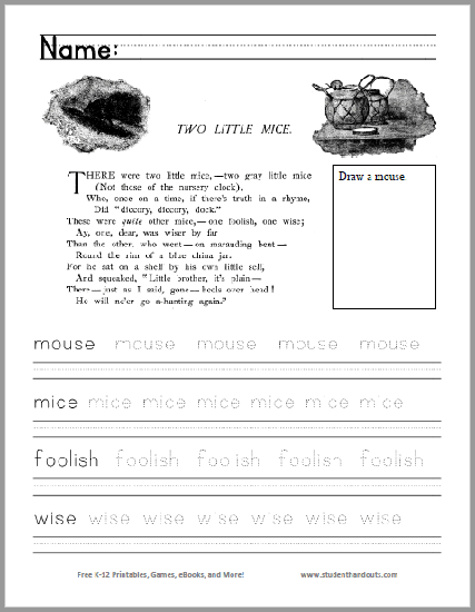 Two Little Mice Poem Worksheet Free To Print Pdf File For Kindergarten And First Grade Kids Poems Poems Poetry Unit