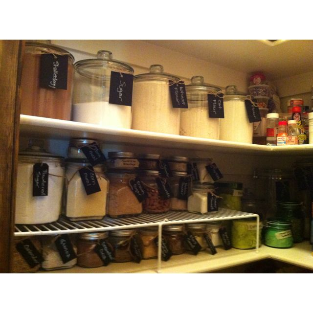 Finished My Pantry Glass Jars From Walmart Chalkboard Labels From
