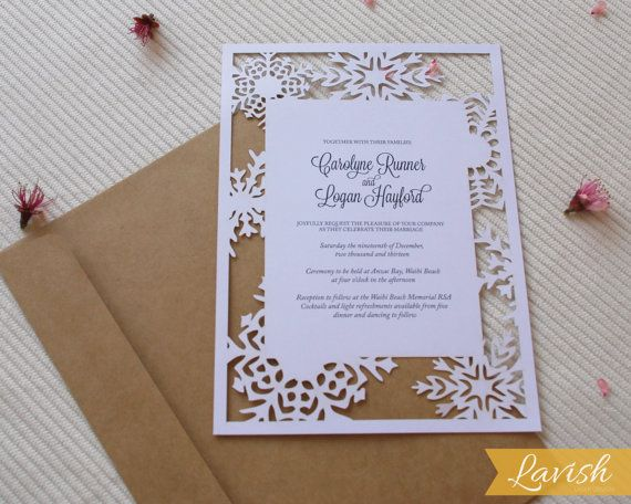 items similar to snowflake laser cut wedding invitation on etsy
