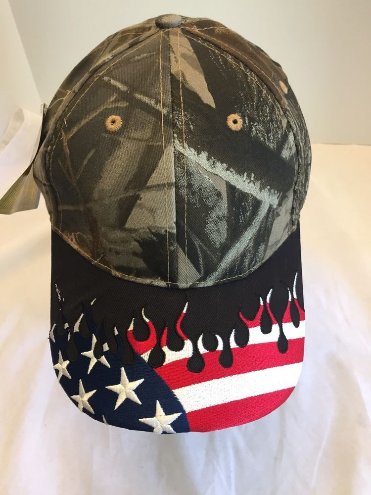 cfb679e140fb5 Realtree Hardwoods Camouflage Flag Red White Blue Stars Stripes Flame New  One SZ  OutdoorCap  BaseballCap