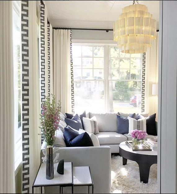 Greek Key Curtains Navy Trim Wide Trimmed Curtains White