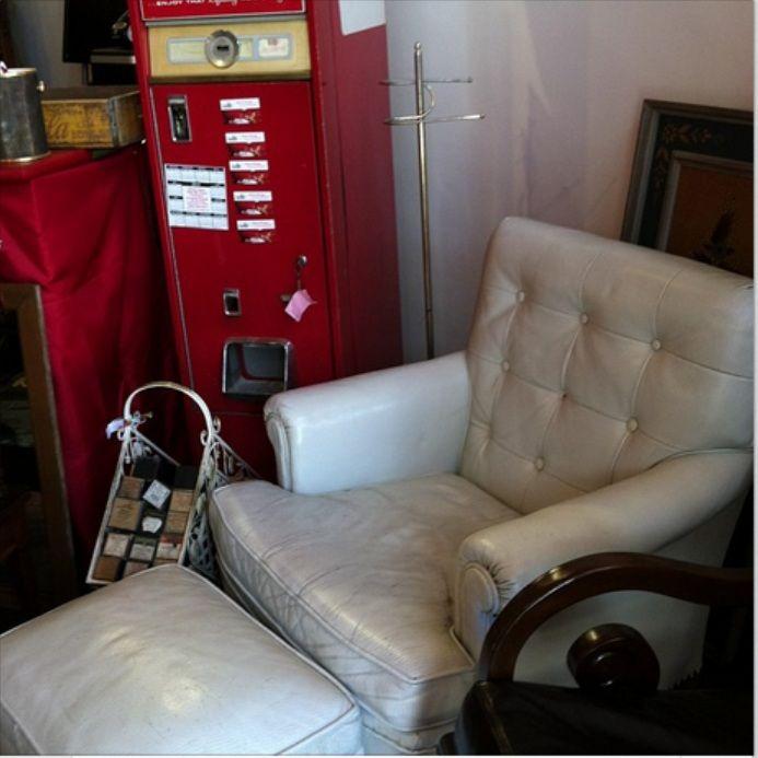 Simon Vintage white leather chair 1911 9th Street NW