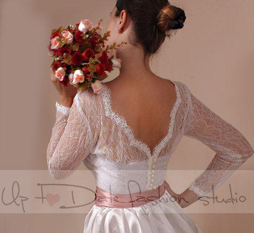8077ab9c42f Plus Size Wedding lace bolero solstiss Lace  wedding jacket  shrug lace top  deep-v in back