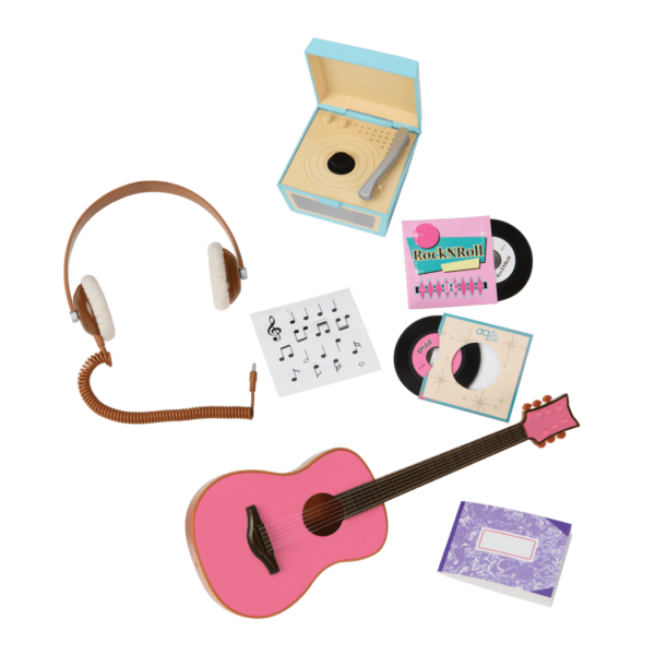 Music lovers will adore the Our Generation Retro Records music accessory set for 18-inch dolls, with miniature turntable, records, and doll-sized guitar! #dollaccessories
