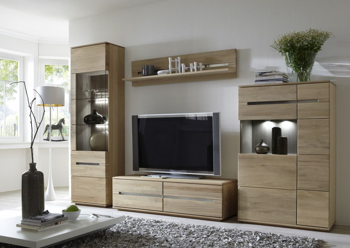 Verschiedene Wohnwand Eiche Teilmassiv Ideen Von Bianco Lamelle Geölt Woody 97-00095 Furnier Modern