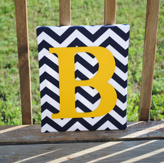 Personalized Navy Blue Chevron With Yellow Initial Canvas Wall Art ...