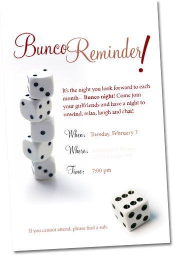 Bunco invite BuncoThats How I Roll Pinterest Bunco ideas