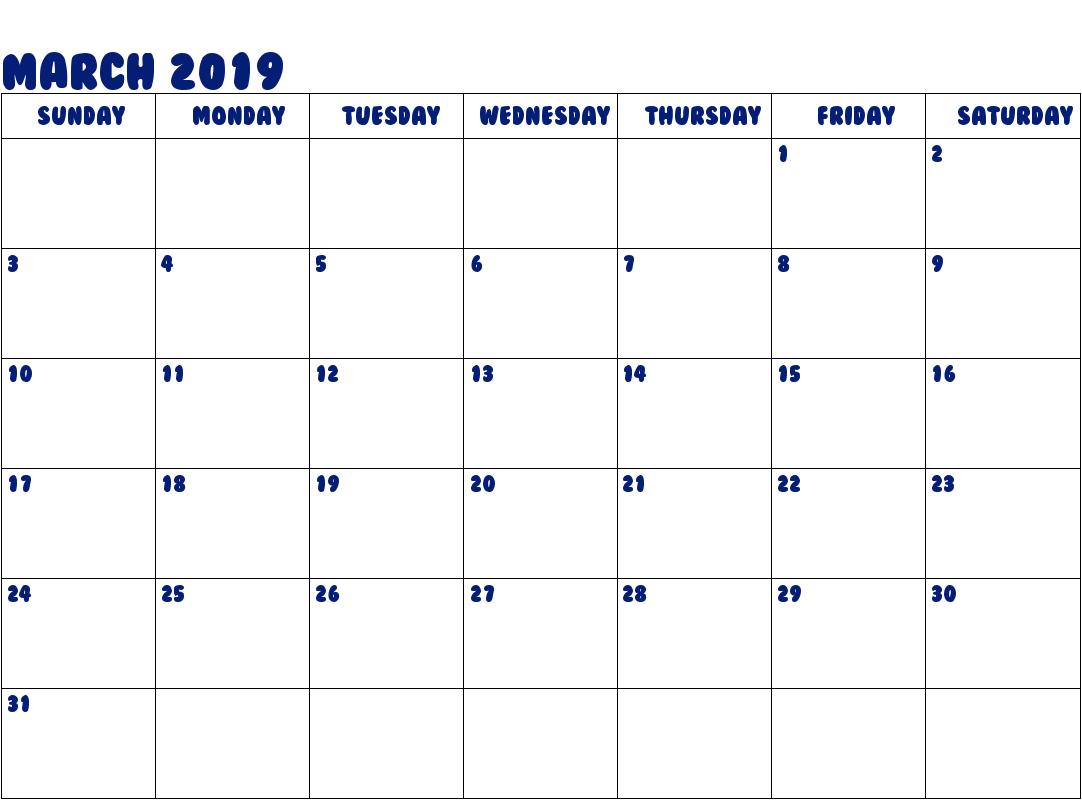 Editable March 2019 Calendar Word March2019 2019calendar