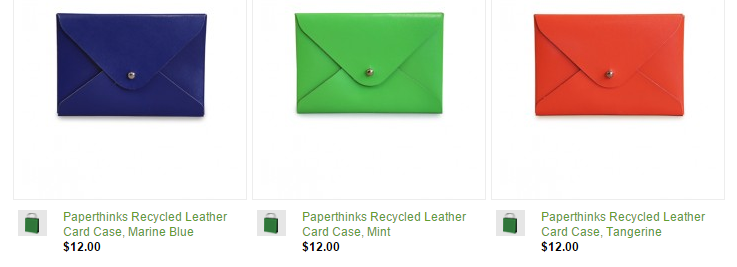 Paperthinks Recycled Leather Card Cases in brilliant colors