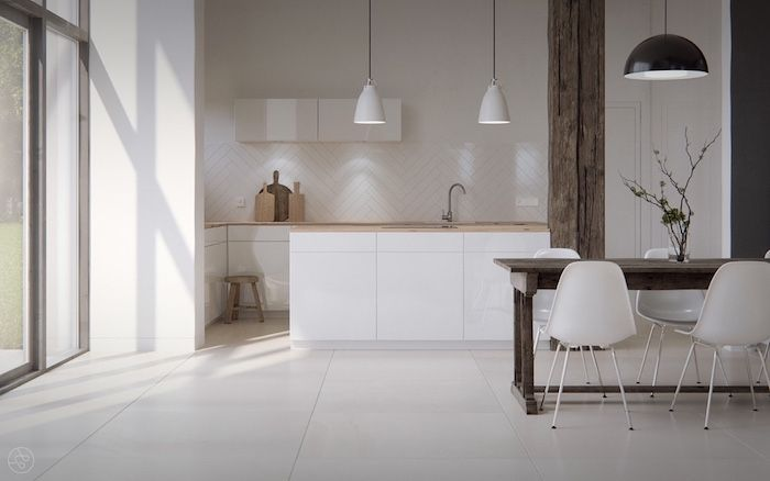 modele de cuisine blanche avec plan de travail bois, credence - Plan De Cuisine Moderne Avec Ilot Central