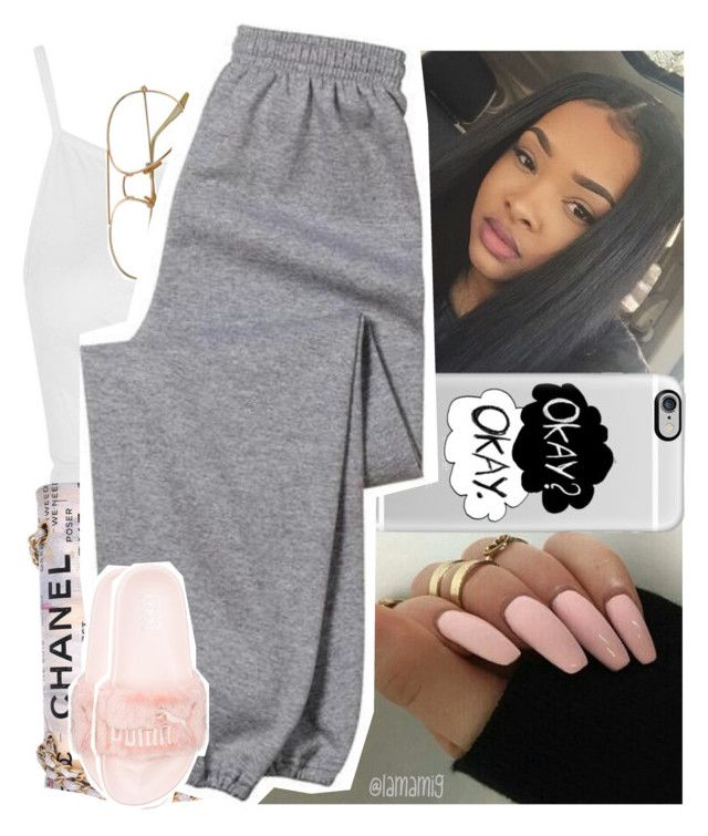 """""""#doubletap"""" by lamamig ❤ liked on Polyvore featuring Topshop, Casetify, Chanel, Gildan and Puma"""