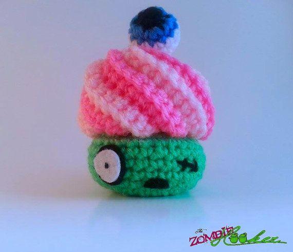 Zombie Crochet Amigurumi Zombie Plush Crochet Cupcake Zombie Cupcake Goth Lolita Cute Kawaii The Walking Dead- thezombiehooker on Etsy