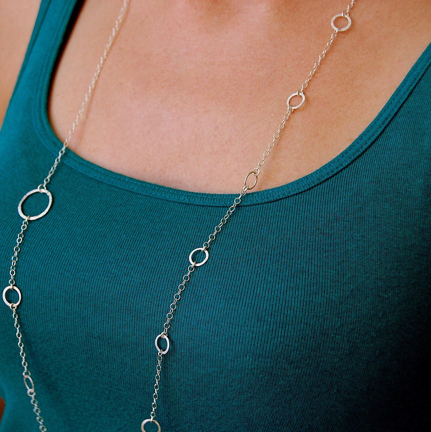 Asymmetrical Hammered Sterling Silver Necklace, Long Necklace by KyanneCreations on Etsy https://www.etsy.com/listing/111198062/asymmetrical-hammered-sterling-silver