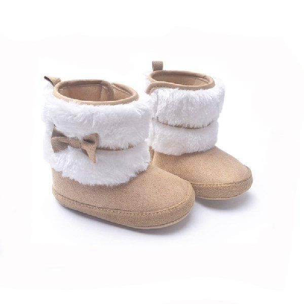 Baby Soft Sole Bow Anti-Slip Warm Winter Boots Infant Prewalker Toddler Snow Boots Crib Shoes