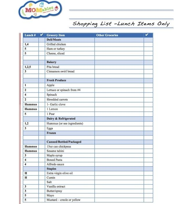Sample shopping list from the MOMables lunch menu plans School - sample list