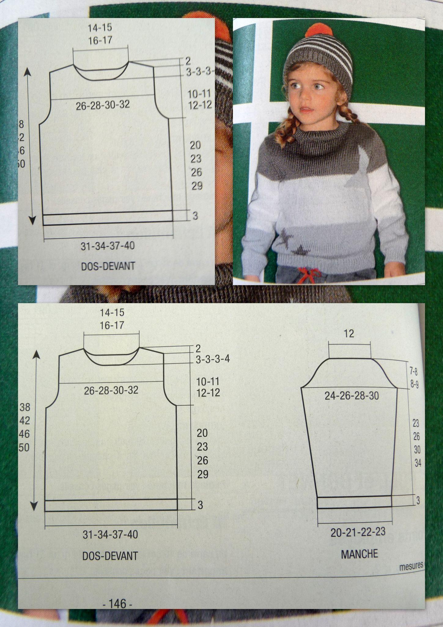 f132d13f1eb7 Patron gratuit explications pull enfant ras du cou taille 4 ans à 10 ans