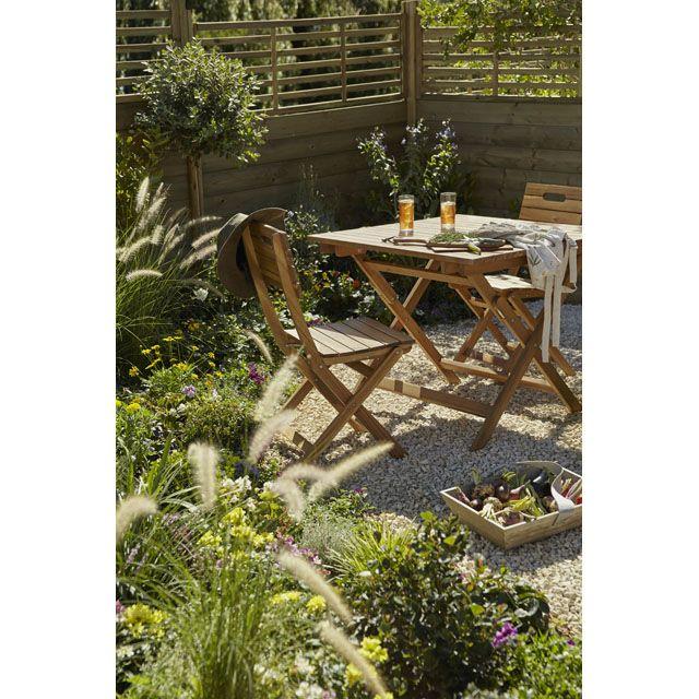 Table de jardin en acacia Denia pliante 90 x 90 cm   Jardin ...