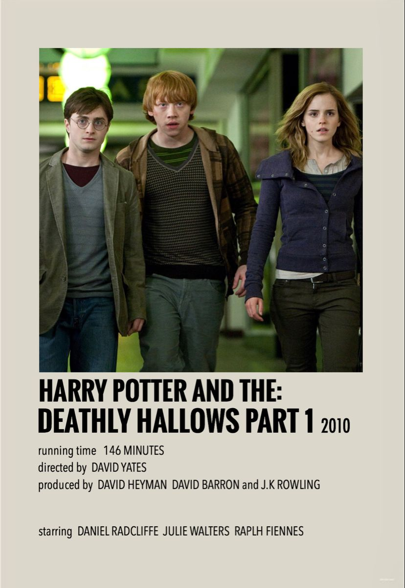 Harry Potter And The Deathly Hallows Part 1 Harry Potter Movie Posters Movie Posters Minimalist Harry Potter Poster