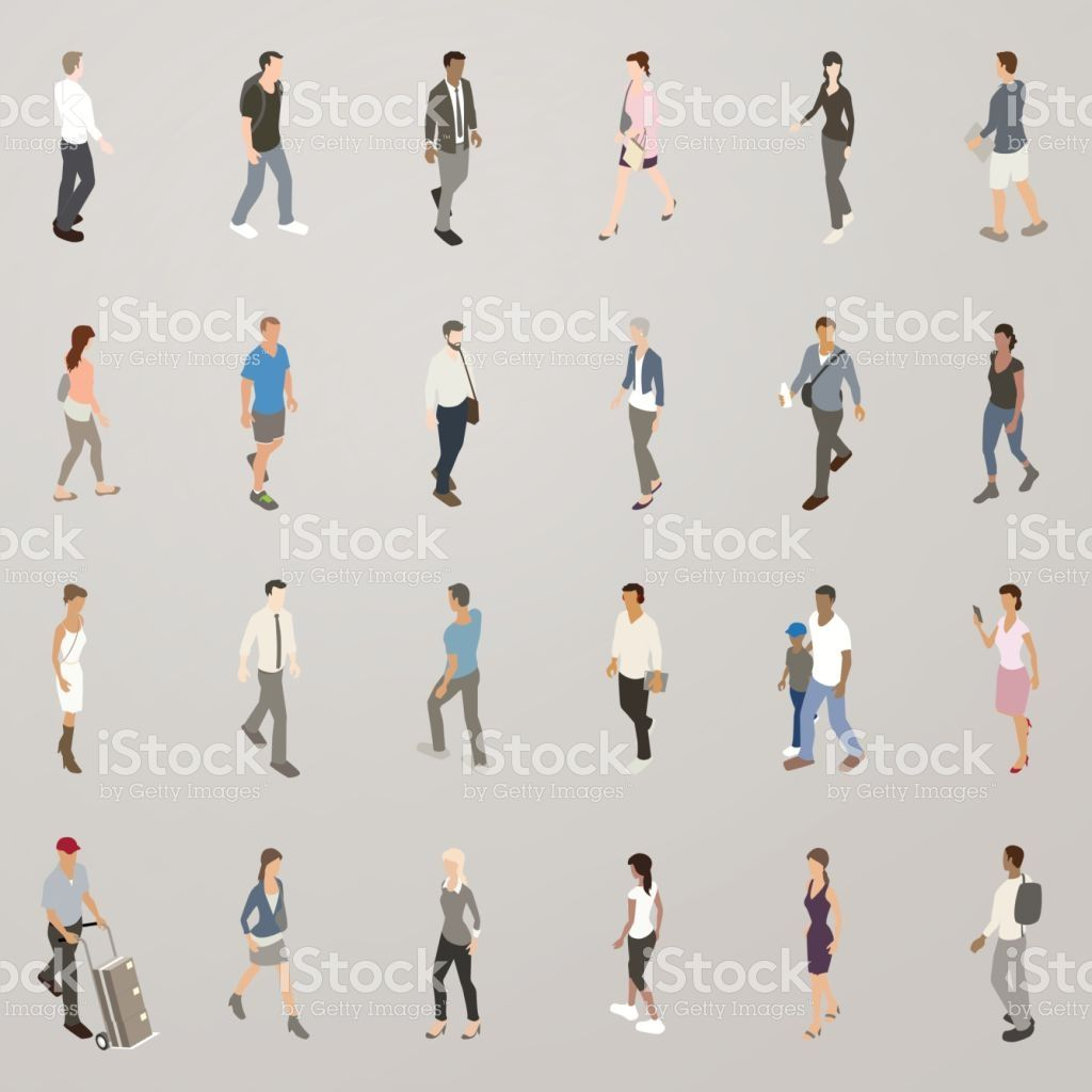 Isometric Vector Icons Include 25 People Walking A Diverse Set Of