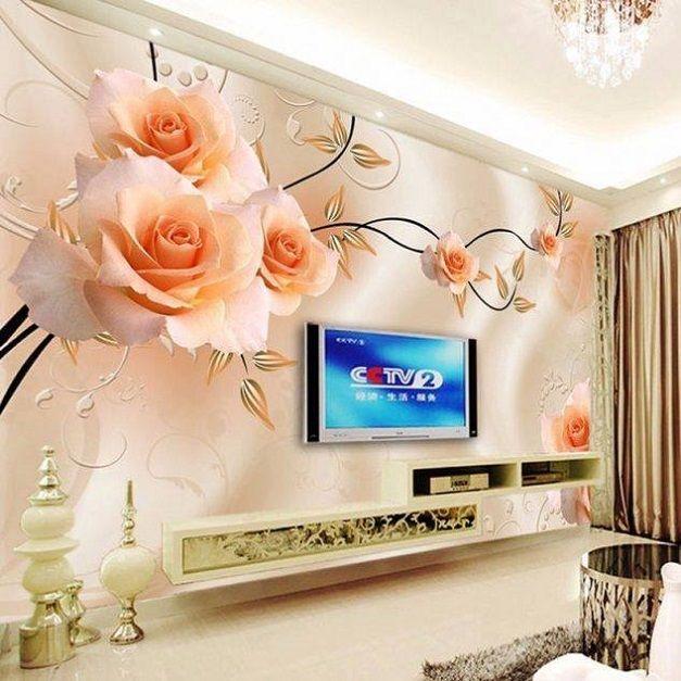 Orange Rose 3d Wallpaper Design Lcd Cabinet Id851 Lcd Cabinet Wall Designs Wall Designs Art 3d Wallpaper For Walls Wall Wallpaper Custom Photo Wallpaper