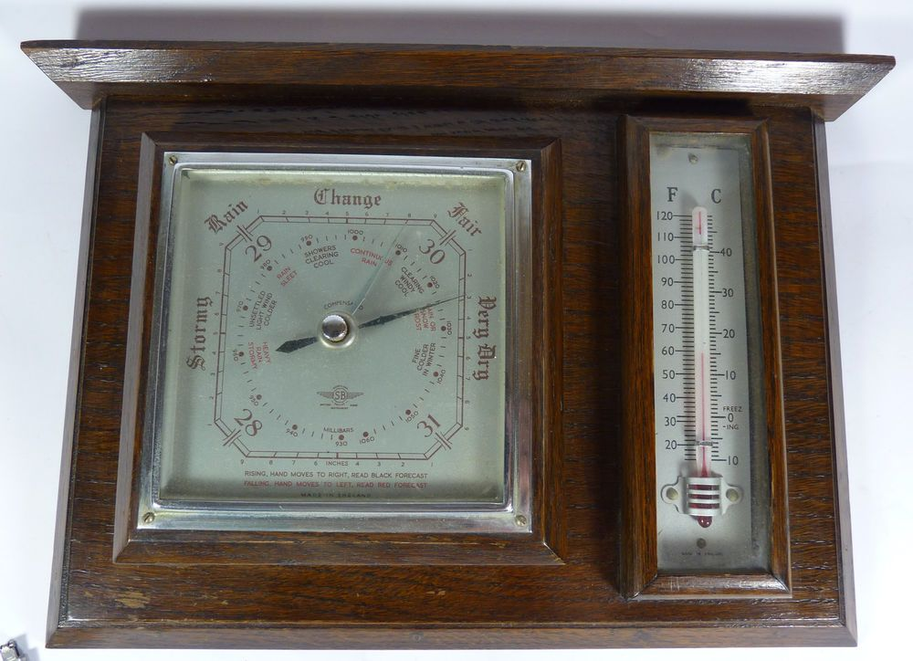 Vintage Shortland SB Barometer and Thermometer Side by Side on a Wooden Base. We have lots more fantastic vintage items available in the hospice's ebay shop which can be found at www.shopatstfrancis.co.uk.