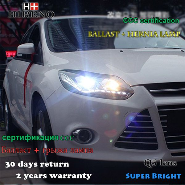 Hireno Car Styling Headlamp For 2011 2014 Ford Focus Headlight Assembly Led Drl Angel Lens Double Beam Hid Xenon 2pcs Car Car Lights Ford Focus Car