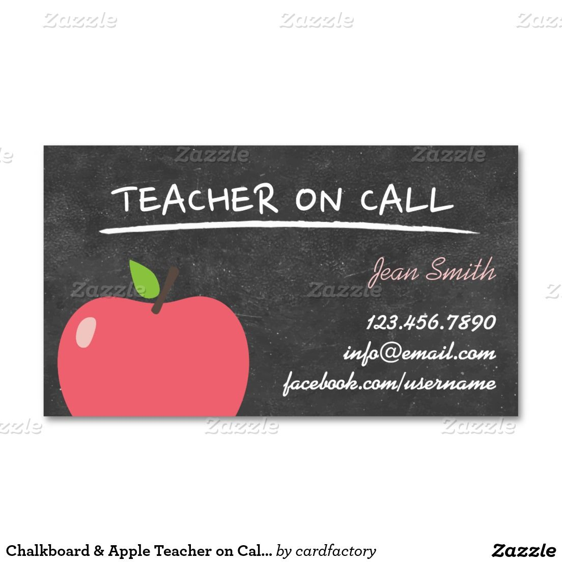 School Teacher Apple & Letters Chalkboard Business Card | Teacher ...