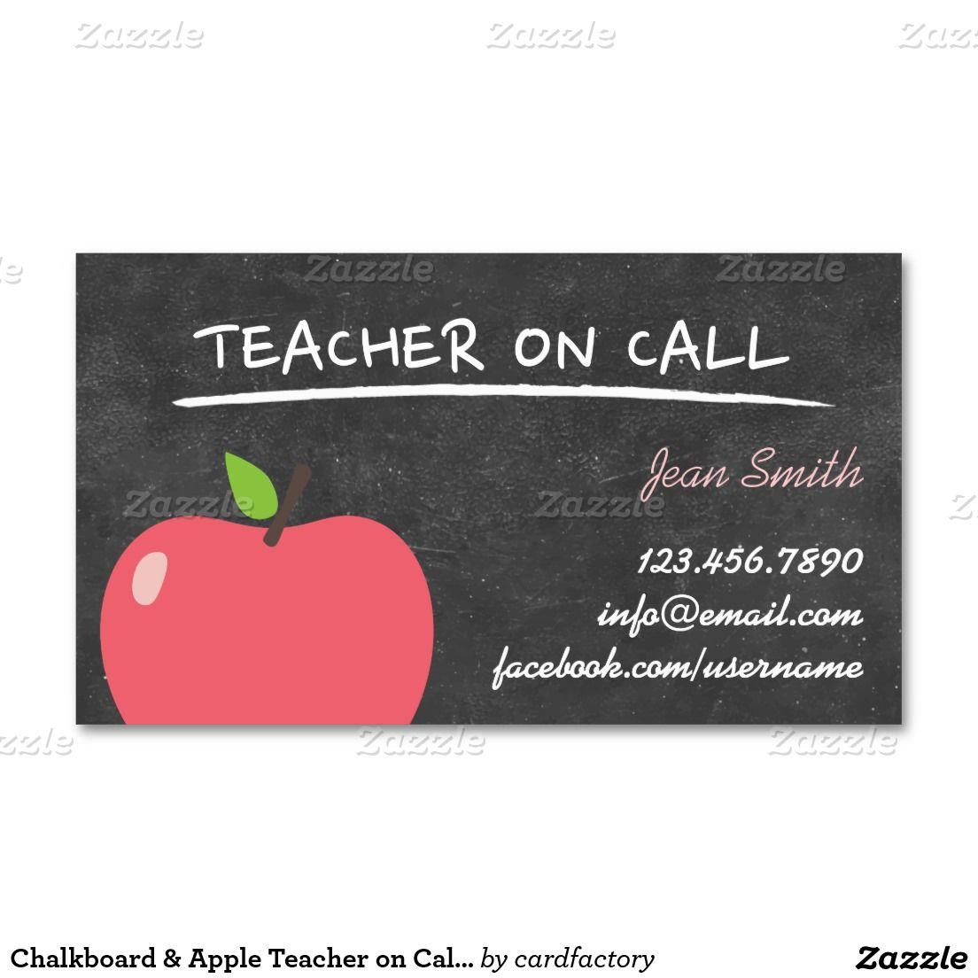 Teacher on Call Cute Apple Chalkboard Business Card | Teacher and ...