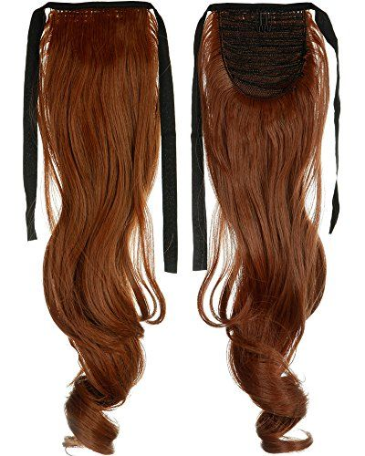 18 Inches Curly Light Auburn One Piece Tie Up Ponytail Clip In Hair