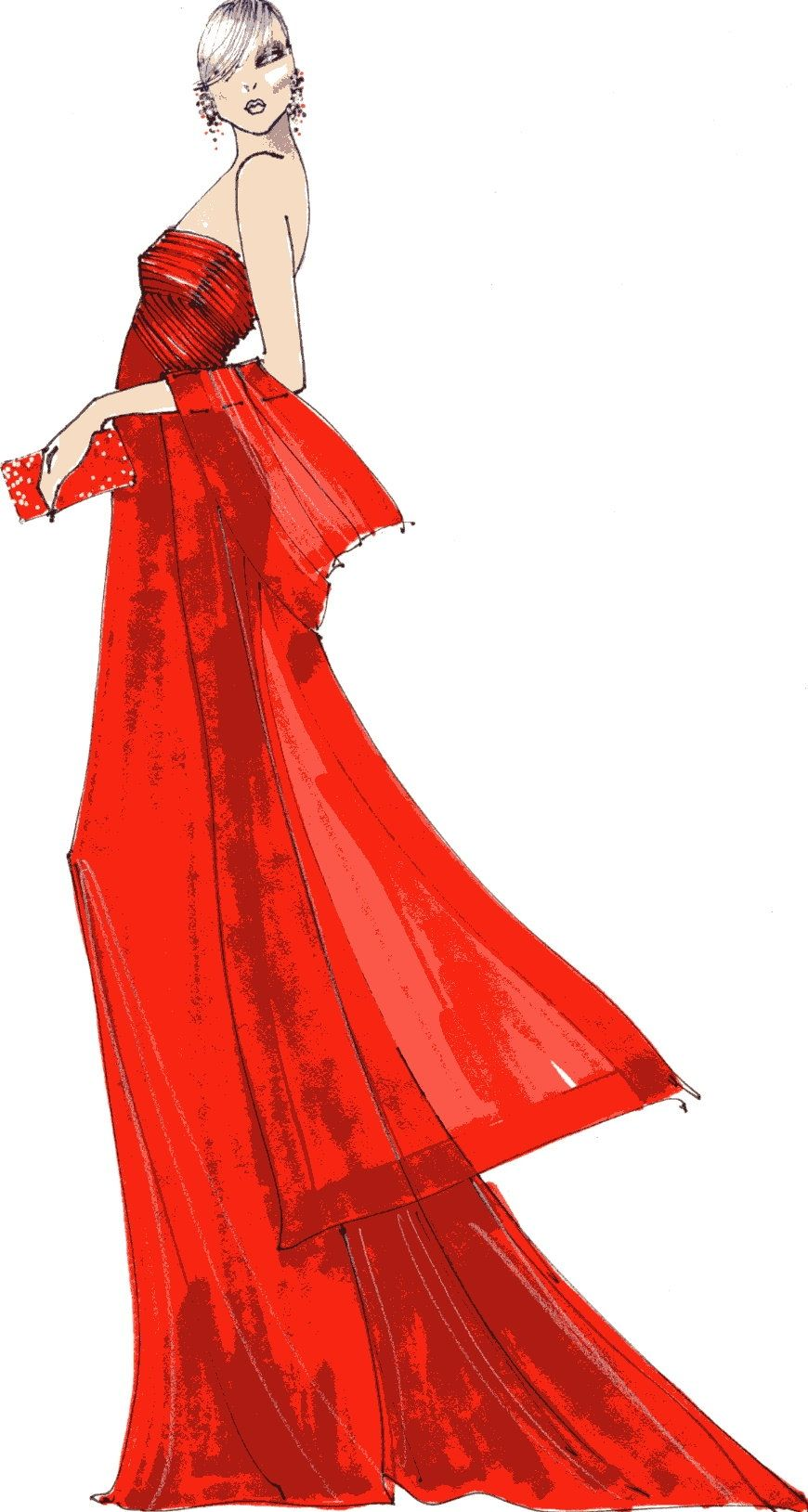 The Heart Truth Fashion Show Red Dress sketch by Wayne Clark, 2009.