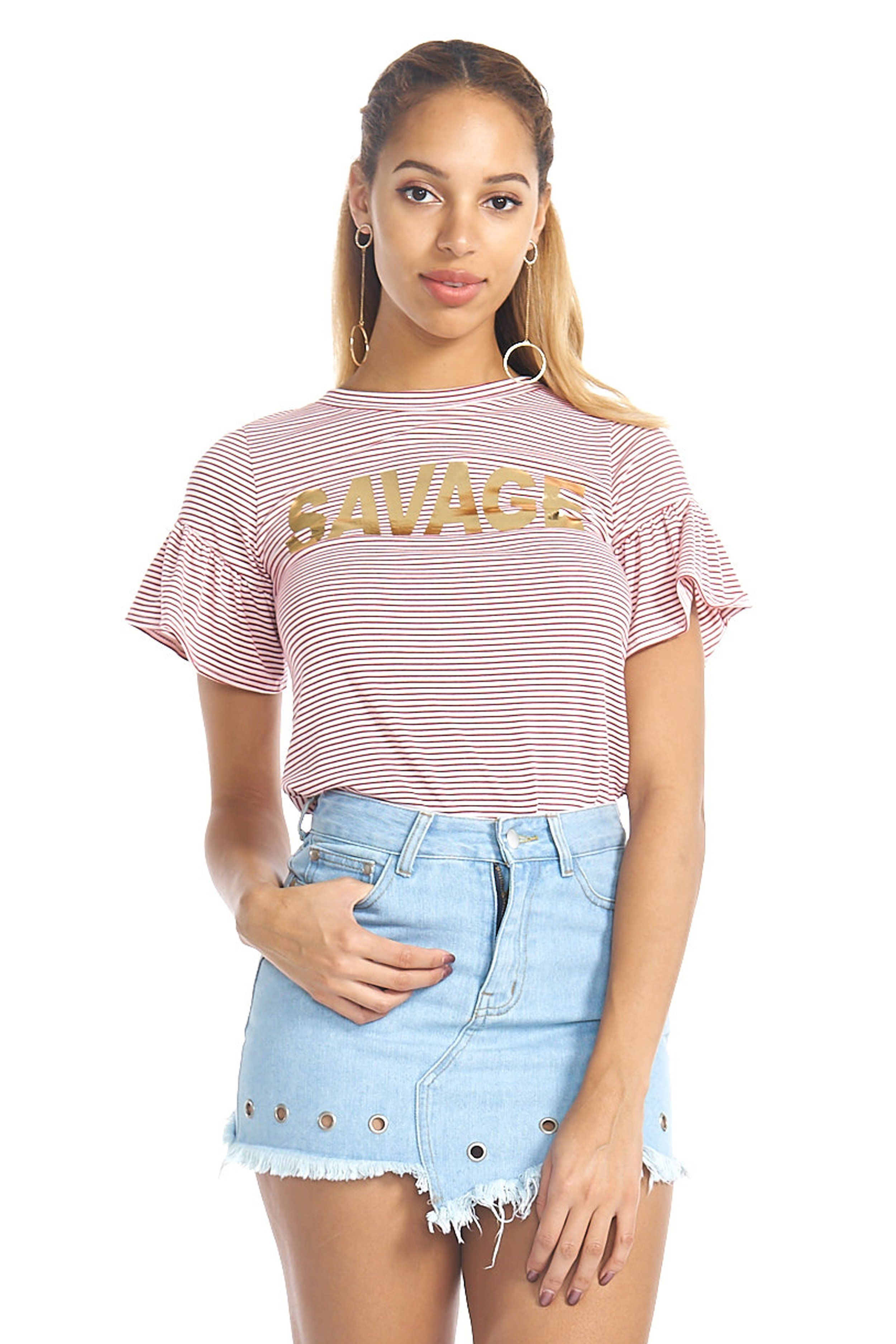 6e8be8c9b4 Savage Red Stripe Bell Sleeves Top
