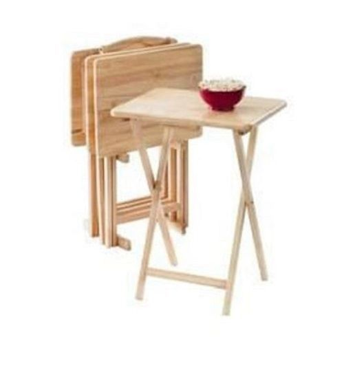 TV Tray Set 5 Pc Wood Dinner Snack Table Portable Folding Stand Serving  Tables #TVTraySet5Pc