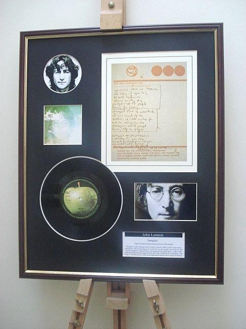 John Lennon Imagine Originele Handgeschreven Teksten Weergeven 7 Vinyl Record Weergeven Deze Mooie Presentatie Beschikt Perkamentpapier John Lennon Creatief