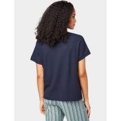 Tom Tailor Damen T-Shirt mit Knotendetail, blau, unifarben, Gr.L Tom TailorTom Tailor #shouldertops