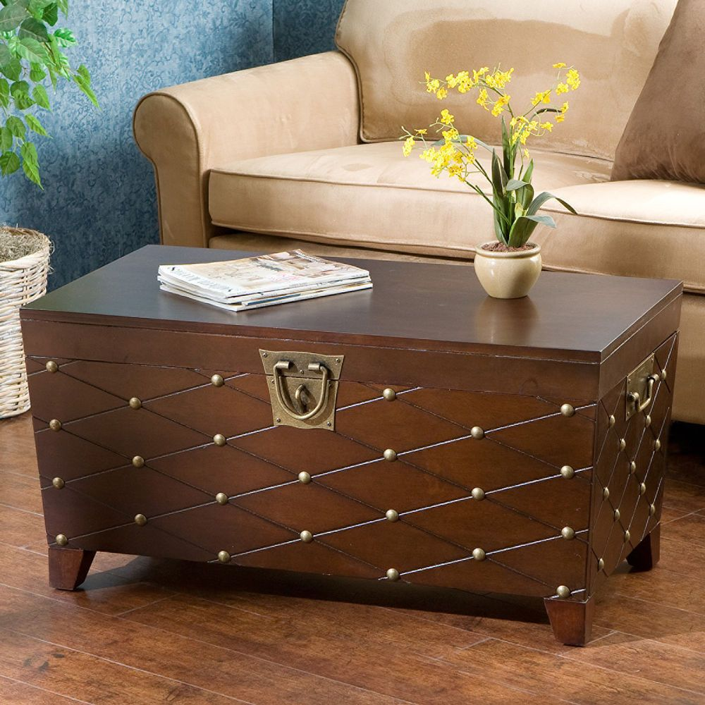 Brown Coffee Table Storage Box Blanket Treasure Chest Nailhead Wooden Trunk Home