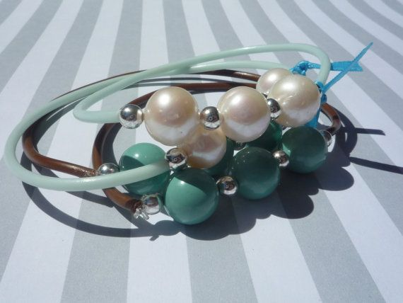 Summer Beaded White and Jade Green Stretchy by urbaneprincess, $9.00