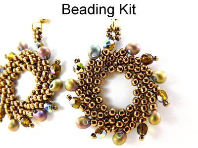 Beaded Phoenix St. Petersburg Stitch Earrings in Bronze Gold Green Beading Pattern Tutorial Kit