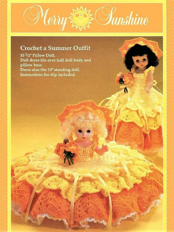 Vintage Crochet Pattern Merry Sunshine Bed Doll Summer Sun Outfit
