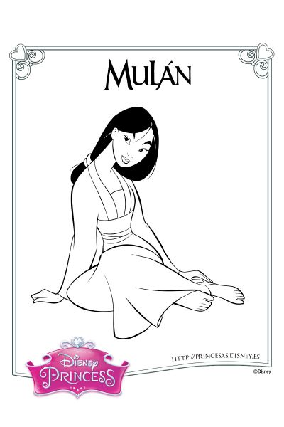 Colorea con Mulán | coloreartu | Pinterest | Colores, Mulan y Princesas