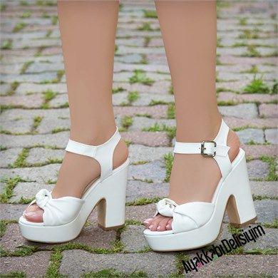 Velisi Beyaz Kalin Topuklu Gelin Ayakkabisi Topuklular Kadin Ayakkabi Topuklu Platform Topuklu Ayakkabi