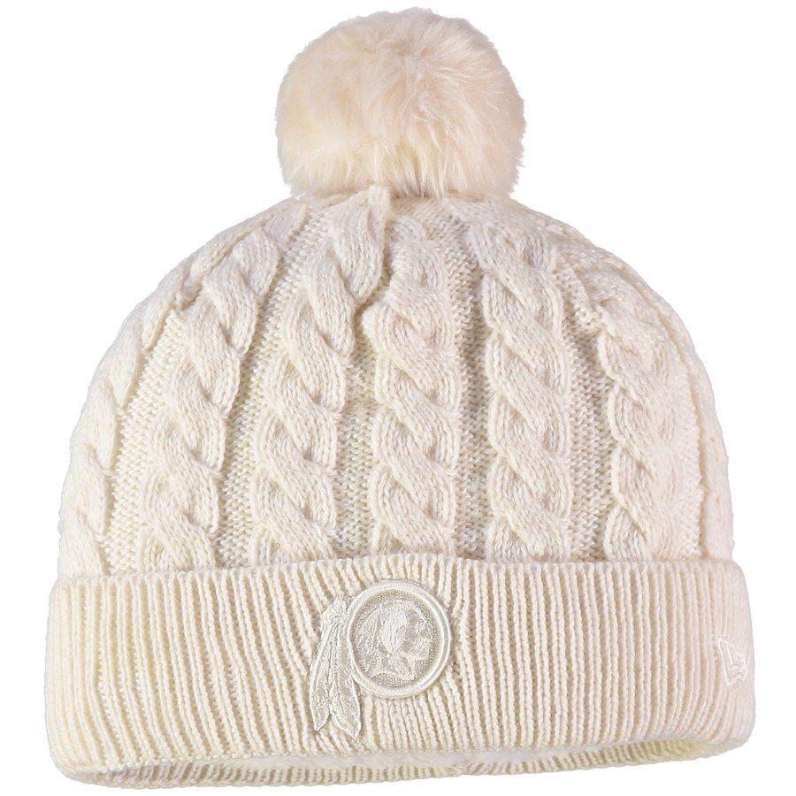 size 40 c47fb a64e9 Women s Washington Redskins New Era Cream Walcott Cuffed Knit Hat with Pom,  Your Price   25.99