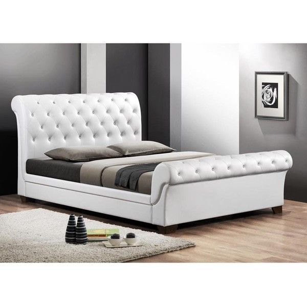 Baxton Studio Leighlin Modern Sleigh Bed with Upholstered Headboard ...